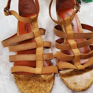 Lucky Brand Suede and Cork Tan Strappy Sandals